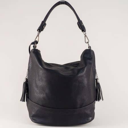 Черна дамска чанта с къса и допълнителна дълга дръжка ch154ch