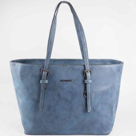 Дамска стилна чанта с регулиращи се дръжки на известния френски производител David Jones в син цвят cm2756s