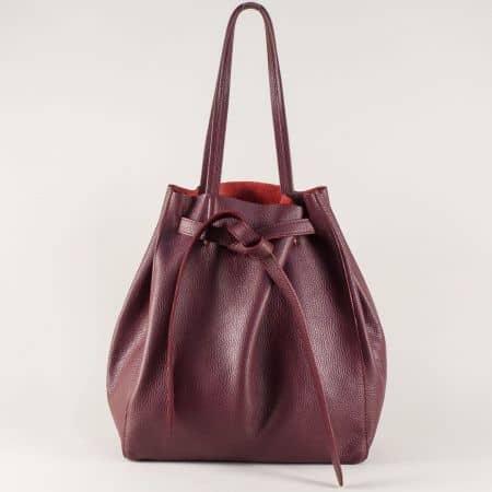 Дамска чанта от естествена кожа в цвят бордо  ch2898bd