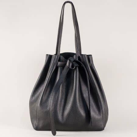 Черна дамска чанта от естествена кожа с органайзер ch2898ch