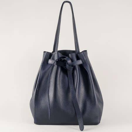 Кожена дамска чанта в синьо с ефектна визия ch2898s