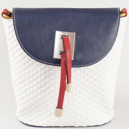 Малка дамска чанта от еко кожа в бяло, синьо и червено ch300tomi