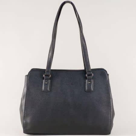 Дамска чанта с две средни дръжки в черен цвят cm3256ch