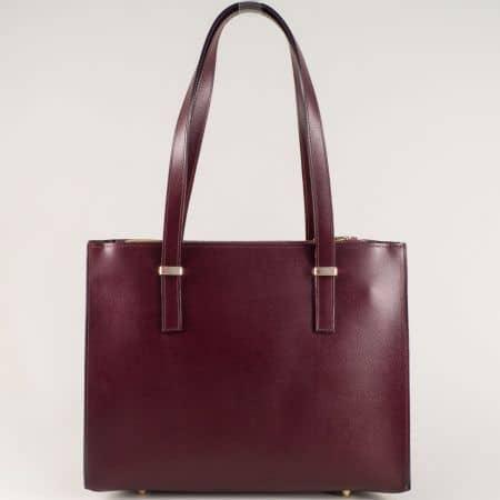Елегантна дамска чанта от естествена кожа в цвят бордо ch33128bd