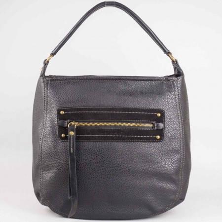Дамска чанта за всеки ден с преден джоб на френския производител David Jones в черен цвят ch3903-3ch