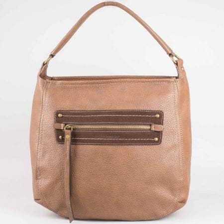 Дамска чанта за всеки ден на известната френска марка David Jones в светло кафяв цвят ch3903-3k