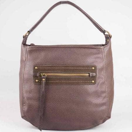 Дамска ежедневна чанта на френската марка David Jones в тъмно кафяв цвят ch3903-3kk