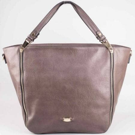 Дамска стилна чанта с дълга и къса дръжка на френския производител David Jones в сив цвят ch3915-2sv