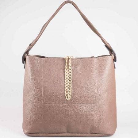 Дамска ежедневна чанта с метална верижка на френския производител David Jones в бежов цвят ch3918-1bj