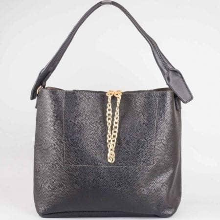 Дамска ежедневна чанта с органайзър на френската марка David Jones в черен цвят ch3918-1ch