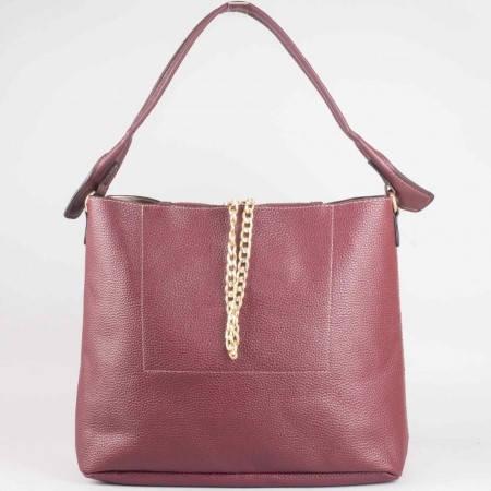 Дамска практична чанта с органайзър на френската марка David Jones в лилав цвят ch3918-1l