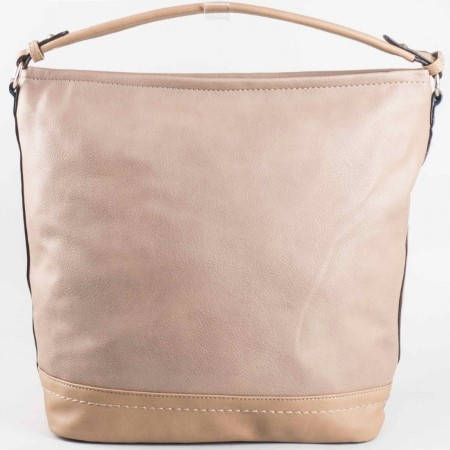Дамска практична чанта с две дръжки на френската марка David Jones в бежов цвят ch3947-1bj