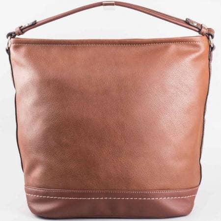 Дамска ежедневна чанта на водещия френски производител David Jones в кафяв цвят ch3947-1k