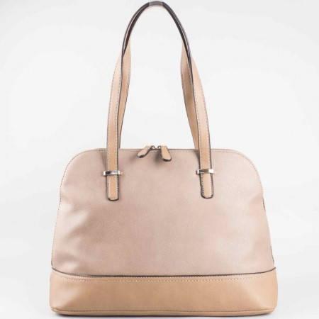 Дамска чанта за всеки ден с двоен цип на френския производител David Jones в бежов цвят ch3947-3bj