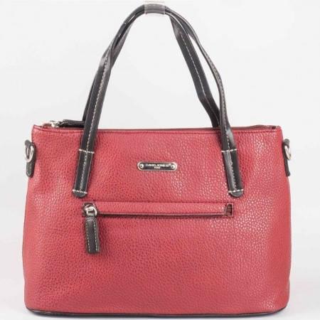 Дамска стилна чанта с преден джоб на френската марка David Jones в цвят бордо ch3951-1bd