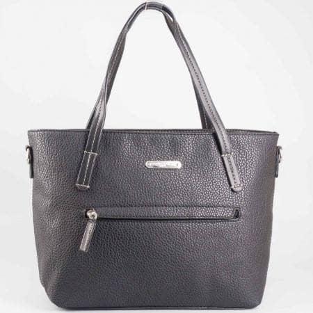 Дамска стилна чанта с преден джоб на известната марка David Jones в черен цвят ch3951-2ch
