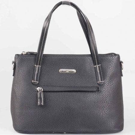 Дамска ежедневна чанта на известната френска марка David Jones в черен цвят ch3951-1ch