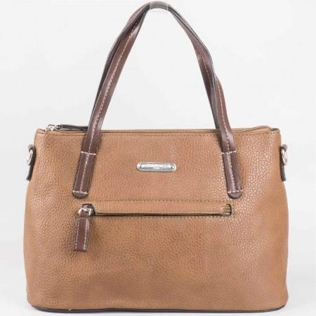 Дамска стилна чанта с преден джоб на френската марка David Jones в кафяв цвят ch3951-1k