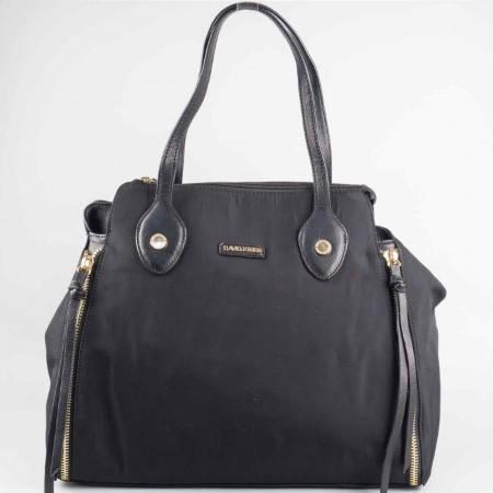 Дамска стилна чанта на френския производител David Jones в черен цвят ch3957-2ch