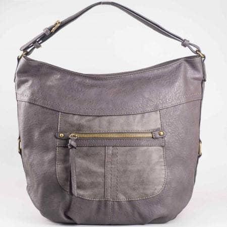 Дамска чанта с преден джоб на френския производител David Jones в сив цвят ch3973-3sv