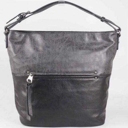 Дамска практична чанта с преден джоб на френския производител David Jones в черен цвят ch3977-3ch