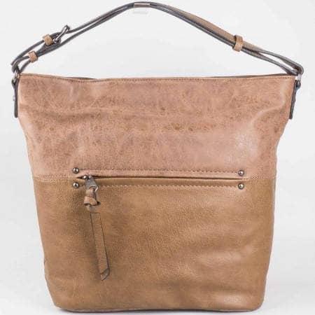 Дамска ежедневна чанта с преден джоб с цип на френския производител David Jones в кафяв  цвят ch3977-3k