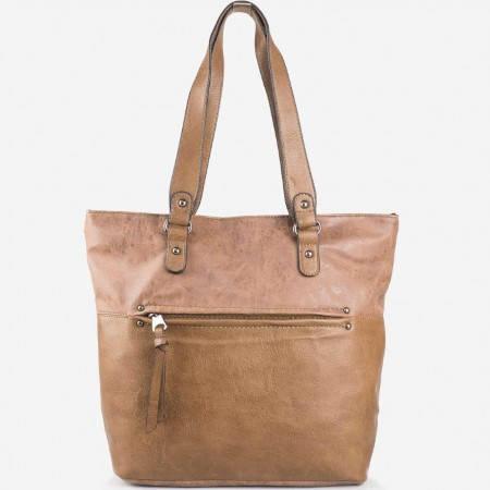 Дамска практична чанта на френската марка David Jones в кафяв цвят ch3977-5k