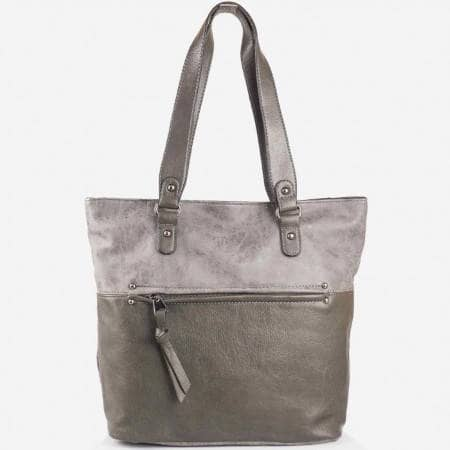 Дамска стилна чанта с преден джоб на френската марка David Jones в сив цвят ch3977-5sv