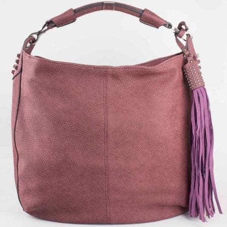 Дамска атрактивна чанта на френската марка David Jones в лилав цвят ch3983-2l
