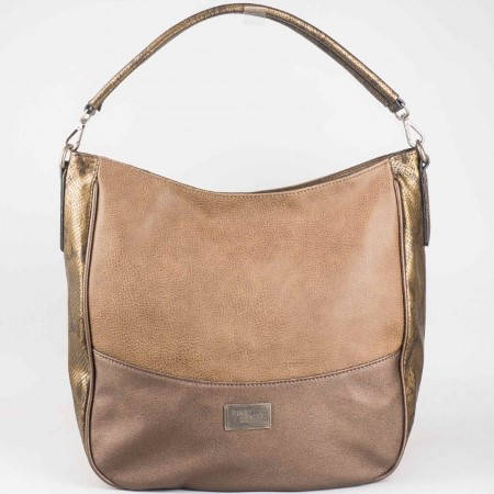 Дамска стилна чанта със змийски принт на David Jones в светло кафяв цвят ch4008-1k
