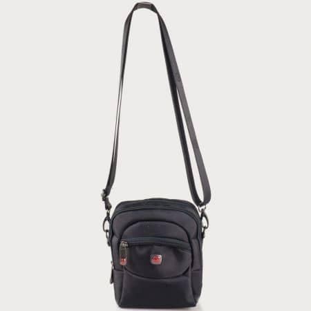 Мъжка ежедневна чанта с дълга дръжка на български производител в черен цвят ch4036ch