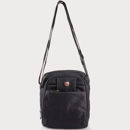 Мъжка малка чанта с дълга дръжка за през рамо на български производител в черен цвят ch4040ch
