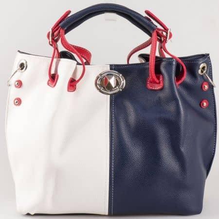 Дамска чанта със семпла визия на български производител в червен, син и бял цвят ch425bsbd