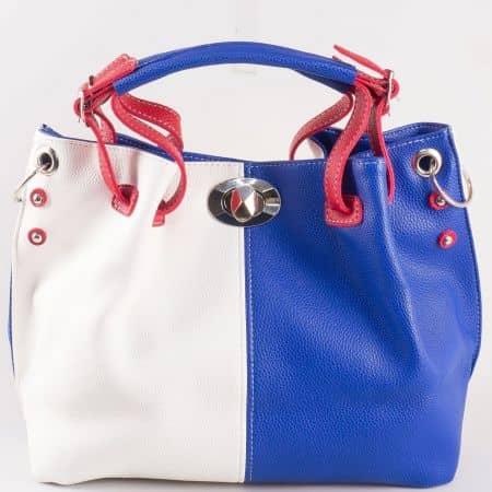 Дамска ежедневна чанта с две дръжки - къса и дълга на български производител в бял, син и червен цвят ch425tomi