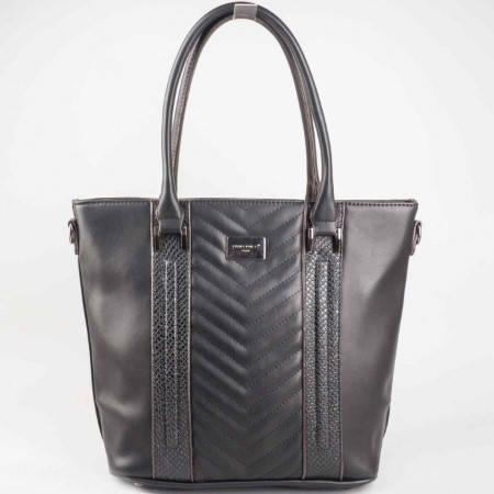 Дамска практична чанта със змийски принт на френската марка David Jones в черен цвят ch5004-2ch