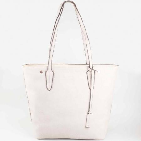 Дамска ежедневна чанта с къса дръжка на David Jones в бежов цвят ch5012-1bj