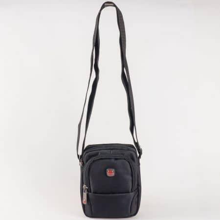Мъжка чанта за всеки ден с дълга, регулираща се, дръжка на български производител в черно ch5017ch