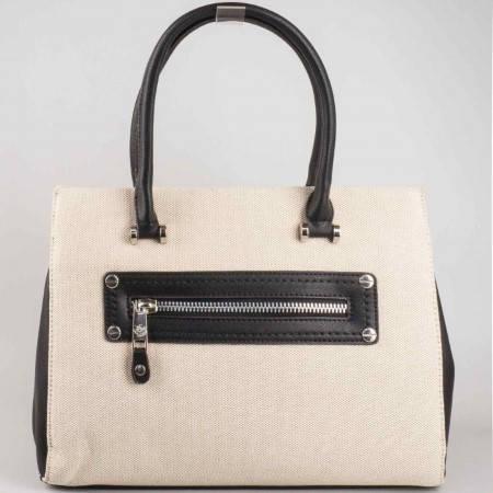 Пролетно лятна дамска чанта в черно и бежово- David Jones с две външни джобчета с цип ch5022-2ch