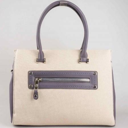 Ефектна френска дамска чанта с два външни джоба- отпред и отзад в бежово и лилаво ch5022-2l