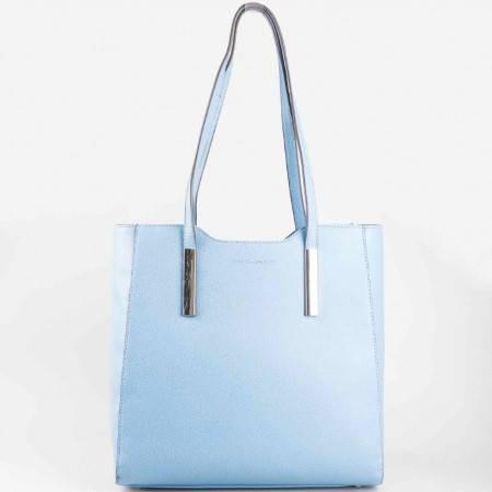 Красива ежедневна дамска чанта David Jones в небесно син цвят ch5029-2s
