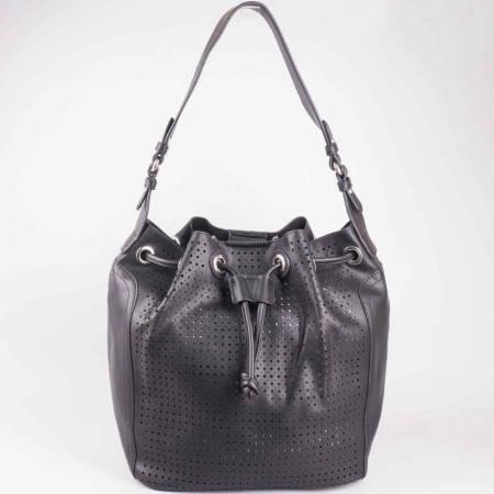 Дамска чанта за всеки ден с органайзър и перфорация на френския производител David Jones в черен цвят ch5032-2ch