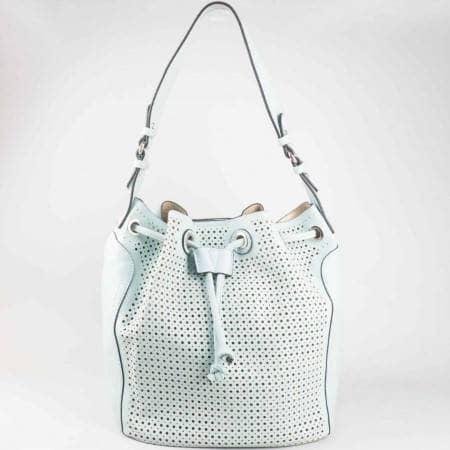 Дамска ежедневна чанта с перфорация и органайзър на известната френска марка David Jones в зелен цвят ch5032-2z