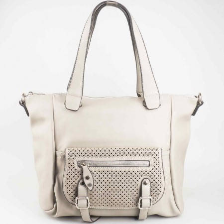 Дамска чанта за всеки ден със стилна визия и две дръжки на френската марка David Jones в тъмно сив цвят ch5032-4tsv