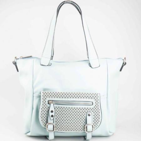 Дамска практична чанта с каишки и къса и дълга дръжка на David Jones в зелен цвят ch5032-4z