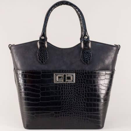 Черна дамска чанта на български производител със стилна визия ch504krch