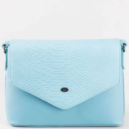 Дамска ежедневна чанта с капак на френския производител David Jones в син цвят ch5056-3s