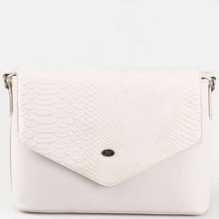 Дамска чанта за всеки ден с капак и змийски принт на френския производител David Jones в сив цвят ch5056-3sv