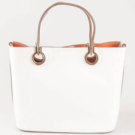 Дамска изчистена чанта с вадещ се органайзър на френската марка David Jones в бяло ch5064-2b