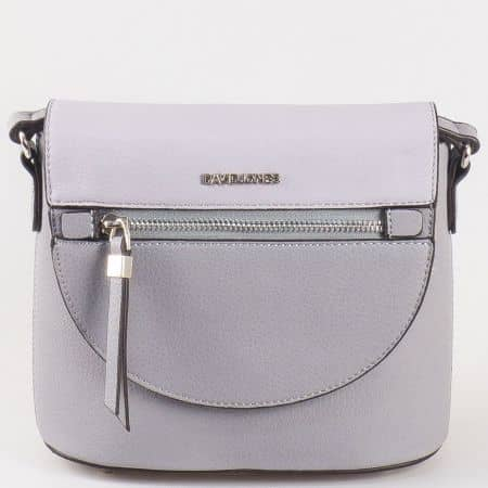 Дамска малка чанта за всеки ден с дълга дръжка и капак на френския производител David Jones в сиво ch5068-1sv