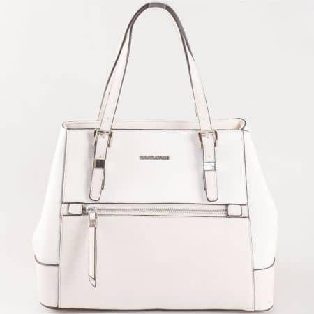 Дамска чанта за всеки ден с две дръжки - къса и дълга и атрактивна визия на David Jones в бяло ch5068-4b